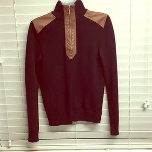Genuine Leather trim knit driver sweater